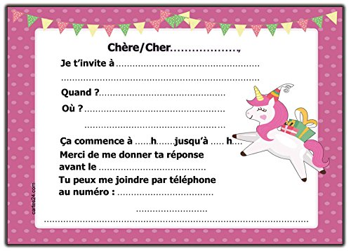 Licorne Invitation Anniversaire Lot De 12 Cartes D Invitation Avec