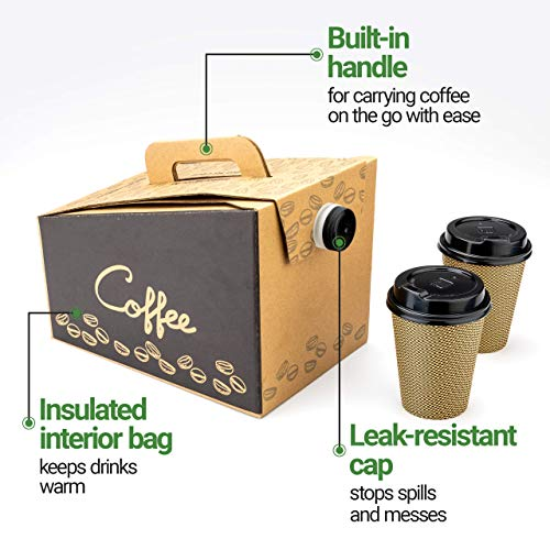 Coffee Take Out Carrier, Disposable Coffee Dispenser, Insulated Hot (12 Cup) 5