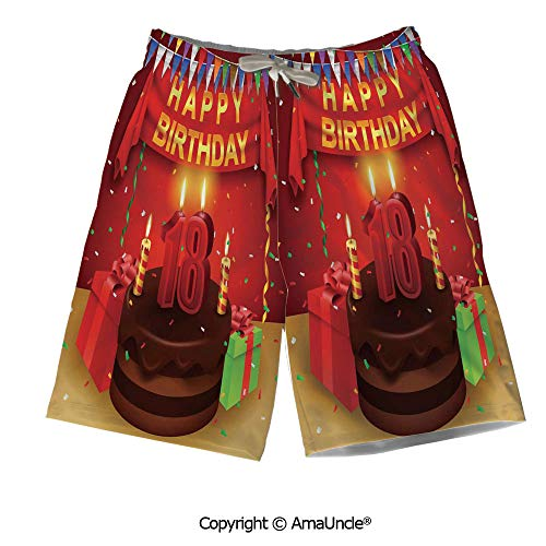 Breathable Boardshorts,3D Printed Beach Shorts,18 Happy Birthday Party with Curt