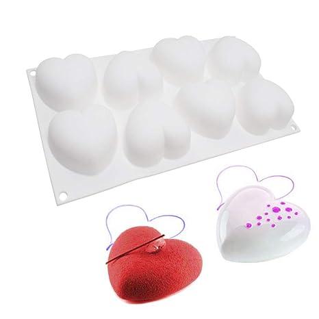 molde de silicona 3d, moldes silicona para postres pudín, 8 cavidades Forma de corazón