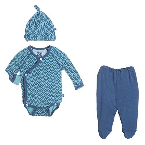 KicKee Pants Kimono Gift Set Outfit, Baby Boys-Glacier Wave, 3-6 Months