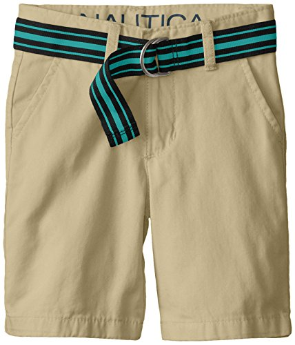 Nautica Little Boys' Classic Belted Flat Front Short, EH0 PB Khaki,6
