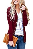 Steven McQueen Women's S-3XL Solid Button Front Knitwears Long Sleeve Casual Cardigans Burgundy 3XL