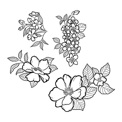(Spellbinders SBS-182 Stamp Set Peonies Blossoms, Cling Foam)