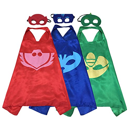 Set of 3 Double-Layered Superhero Cape and Mask Dress Up Kids Costumes 27
