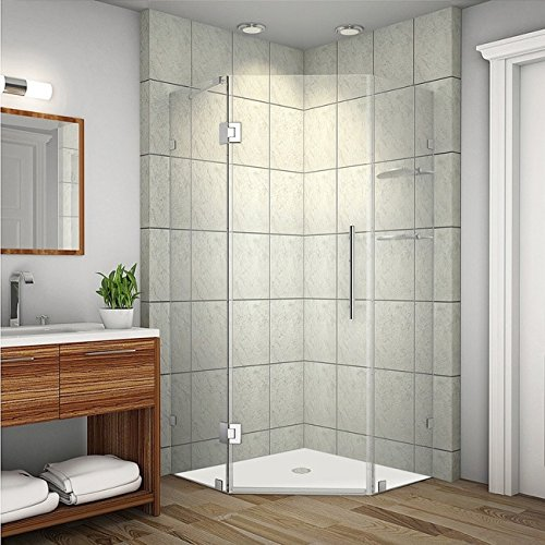 Neo Angle Shower Enclosure (Aston SEN991-SS-34-10 Neoscape GS Completely Frameless Neo-Angle Shower Enclosure with Glass Shelves, 34