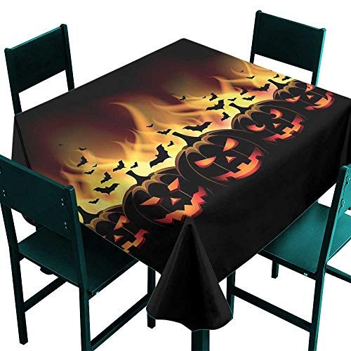 (Warm Family Vintage Halloween Easy Care Tablecloth Happy Halloween Image with Jack o Lanterns on Fire with Bats Holiday Indoor Outdoor Camping Picnic)