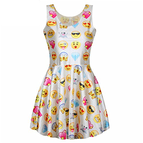 [Nubetyy Graceful Emoji Dresses Jumper Fashion O-Neck Vestidos Ladies Cute Kawaii Dress F169 BL398S] (Morph Suite)