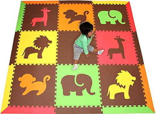 (SoftTiles Children's Foam Playmat- Safari Animals Theme- Premium Interlocking Foam Mats for Children's Playrooms/Nursery- Red, Yellow, Orange, Lime & Brown- Large 6.5 x 6.5 ft.- RYOLB)