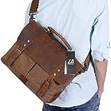 """Langforth Genuine Leather Vintage 14"""" Laptop Canvas Messenger Satchel Bag Coffee 13""""(L)x10.5""""(H) x 4.1""""(W)"""