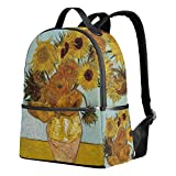 ALAZA Rucksack Canvas School Satchel Casual Daypack Backpack,Van Gogh Sunflowers