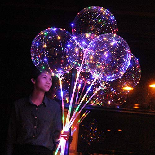 4PCS Multicolored LED Light Up Balloons for Kids 18Inch 9.84ft 30LED Transparent Bobo Balloon Flashing Lights with Cup for Teens Kids Children Gift DIY Wedding Decoration Balloons Light Carnival Fun]()