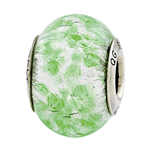 Sterling Silver Reflections Green White Italian Murano Glass Bead (Silver Green Reflections Sterling)