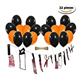 STAR-TOP Halloween Suit Bloody Weapon Plastic Horror Knife String Ornaments Garland Banner Decoration,Black and Orange Balloon (Blood-Sword)
