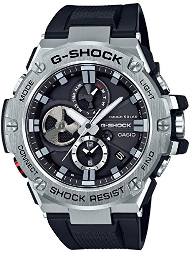 Casio Men's 'G-Steel by G-Shock' Quartz Solar Bluetooth Connected Resin Dress Watch, Color: Black (Model: GST-B100-1ACR) (Best Investment In Saudi Arabia)