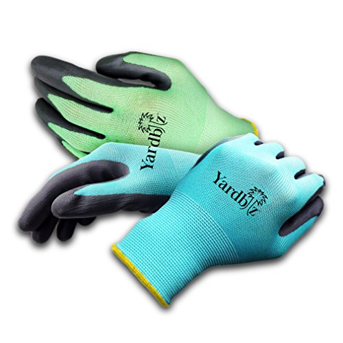 Yardbiz Gardening Gloves ★ 4 Pair Womens Medium ★ Machine Washable Breathable with Waterproof Palm