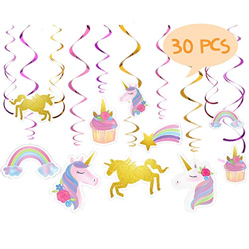 Unicorn Hanging Swirl, Opret 30 pcs Pastel Unicorn Swirl Decorations Glittery Unicorn Foil Hanging Decorations Unicorn Party Supplies - Pink, Purple, Gold -