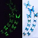Clearance ��Tuscom A Set 12 pcs 3D DIY Luminous Magneti Butterfly Wall Sticker Stickers forTiles, Fridges Laptops Cars Home Decor Room Decorations (6 Colors) (Blue)