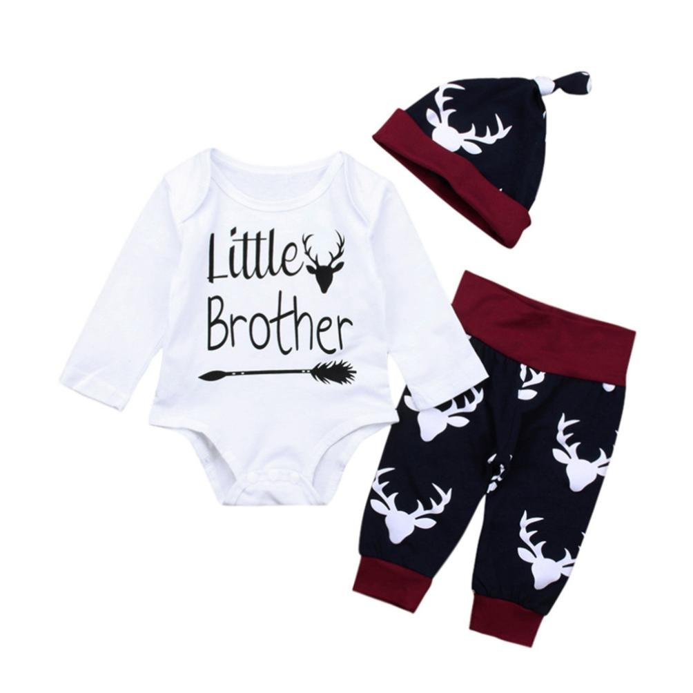 Jchen(TM) for 0-18 Months Fashion Newborn Infant Baby Boy Letter Little Brother Arrow Print Long Sleeve Tops+Deer Print Pants+Hat Outfits 3PCS Summer Autumn Clothes Set (Age: 0-3 Months)