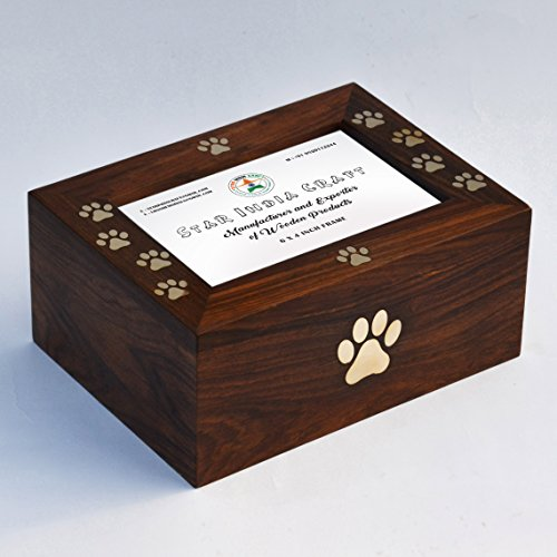 Es Wood (STAR INDIA CRAFT Handcrafted Wooden Pet Urns for Ashes by Wooden urn for pet ashes wooden cremation urn Wooden urns for human ashes, Medium( 8 x 6 x 3.5