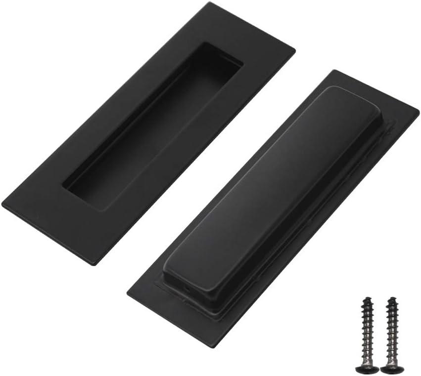 2 Pack Black Probrico Modern Recessed Sliding Flush Door Handles Drawer Pulls Finger Pulls, 6 inch (150mm)2 inch (50mm) Rectangular Recessed 304# Stainless Steel