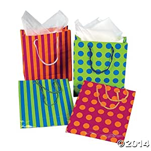 12 Medium Gift Bags - Assorted (Choose Your Style) (12 pc STRIPES and DOTS mix- assorted 9 inch)