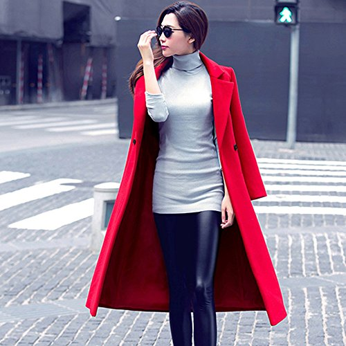 Solid Womens Winter Outerwear Parka Overcoat Woolen Down Pockets Turn Red Coats Fashion Sleeve Long Loose MIRRAY Outwear Cardigan Autumn Long Collar Casual Ladies Button with n4zFqqwdY
