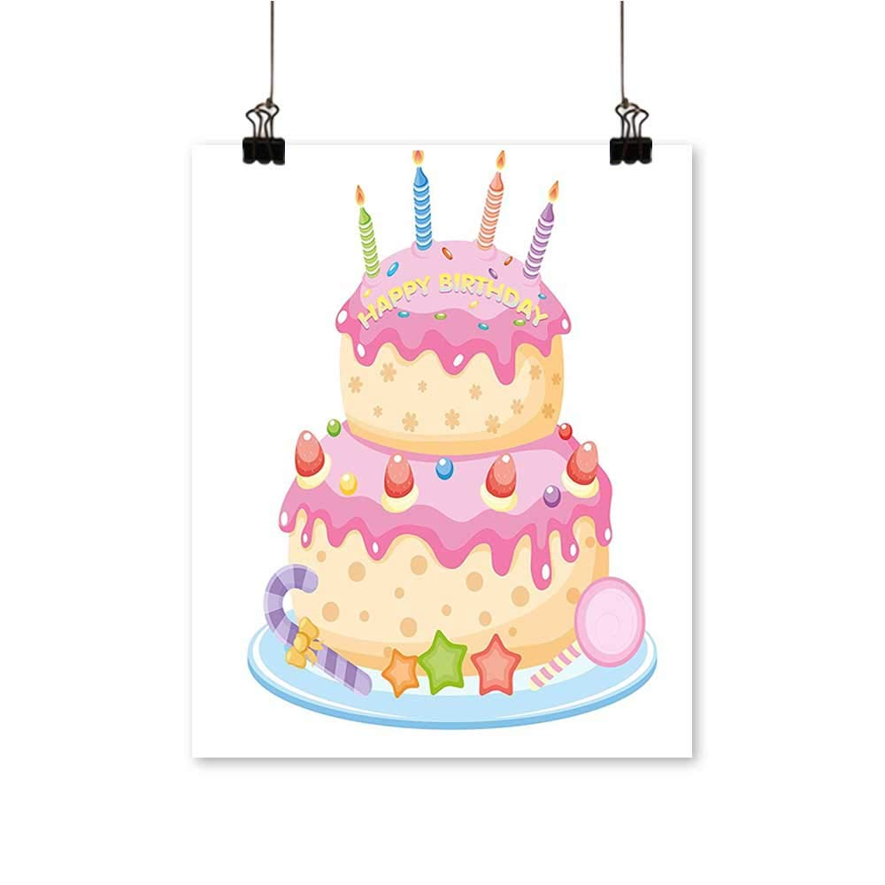 "Artwork for Office Decorationsfor Kids Pastel Colored Birthday Party Cake with Candles and Candies Light Pink Canvas Living Room,32"" W x 56"" L/1pc(Frameless)"