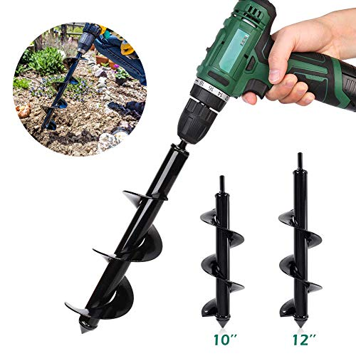 Garden Bulb /& Bedding Plants Auger Hole Digger 3 x 12 Fits Any 3//8 Hex Drive Drill Black,1 Pack) Auger Drill Bit