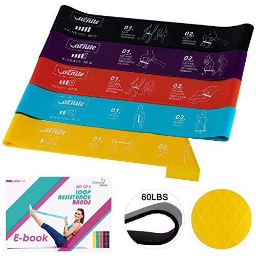 VACNITE Resistance Bands, Ultra-Heavy Anti-slip Exercise Bands Guide Printed on Loop Bands for Anywhere Fitness, Set of 5 Natural Latex Resistance Workout Bands for legs and butt with Ebook, Carry Bag
