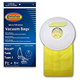 EnviroCare Replacement Vacuum Bags for Royal Tank Type J. 7 Pack and 1 Filter