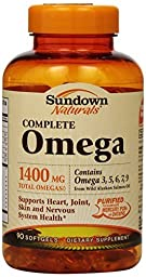 sundown Naturals Complete Omega Dietary Supplement Softgels, 1400mg, 90 count - Buy Packs and SAVE (Pack of 2)