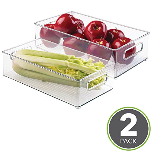 "mDesign Refrigerator, Freezer, Pantry Cabinet Organizer Bins for Kitchen - 8"" x 4"" x 14.5"", Pack of 2, Clear"