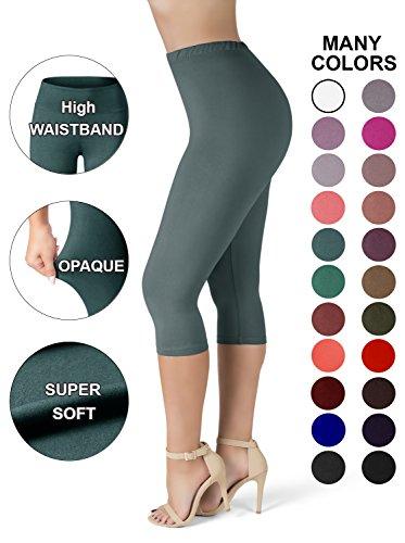 Sejora SATINA High Waisted Ultra Soft Capris Leggings - 20 Colors - Reg & Plus Size (Plus Size, Sea Foam) -