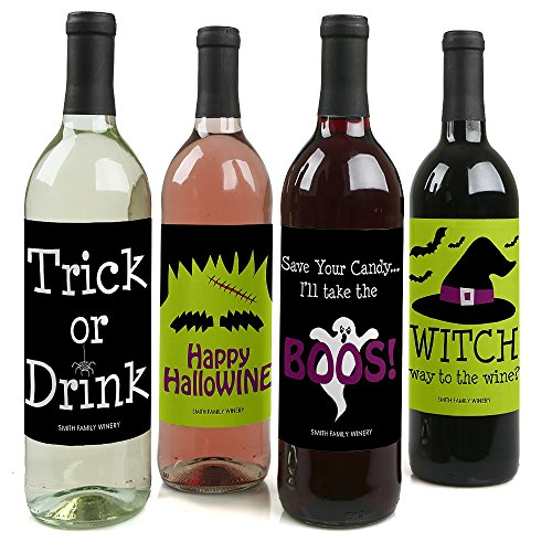 Custom Trick or Treat - Personalized Halloween Party Wine Bottle Labels - Set of 4 for $<!--$8.89-->