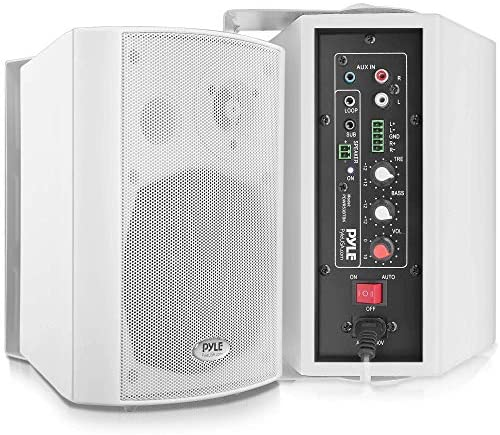 Wall Mount House Speaker System – Lively Passive Mountable Bookshelf Indoor Studio Storage Patio Stereo Sound House Theater Speaker, Wi-fi Bluetooth Speaker Set W/Aux & RCA – Pyle PDWR53BTWT (White)