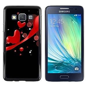 TopCaseStore / la caja del caucho duro de la cubierta de protección de la piel - Love Red - Samsung Galaxy A3 SM-A300