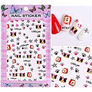 1 Sheet Embossed 3D Nail Stickers Blooming Flower 3D Nail Stickers Decals Adhesive Manicure Nail Tips Decoration - F071