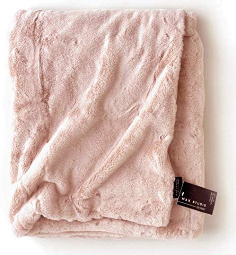 (Max Studio Home Modern Faux Fur Throw By MAXSTUDIO Plush Lightweight Blanket in Beige Tan Gray (Soft Pink))