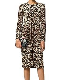 Womens Vintage Leopard Print Long Sleeve Causual Party Elegant Slim Pencil Dress Sheath