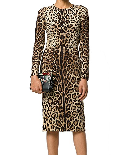 Roiii Women's Formal Print Leopard Long Sleeve Vintage Evening Party Pencil Slim Dress Size S-3XL (3X-Large, Leopard 1)