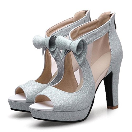 TAOFFEN Women Elegant Peep Toe Sandals Shoes Silver E5AWmFVAZr