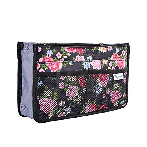 Periea Handbag Organizer - Chelsy - 28 Colors Available - Small, Medium or Large (Small, Floral Black) (Handbag Insert Organizer Travel)