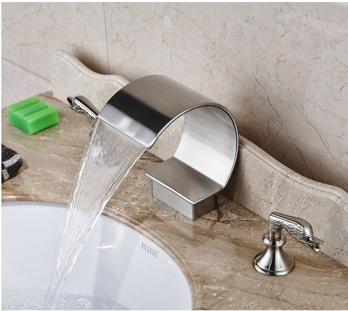 Gowe Nickel Brushed Finished Deck Mounted Bathroom Sink Faucet Two Handles Hot and Cold Water Mixer Tap 2