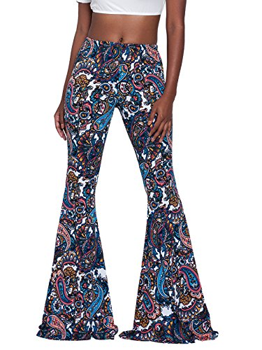 Govc Women Casual Print Stretchy Bell Bottom Flare Palazzo Skinny Pants High Waist Trousers(Blue,XXL) ()