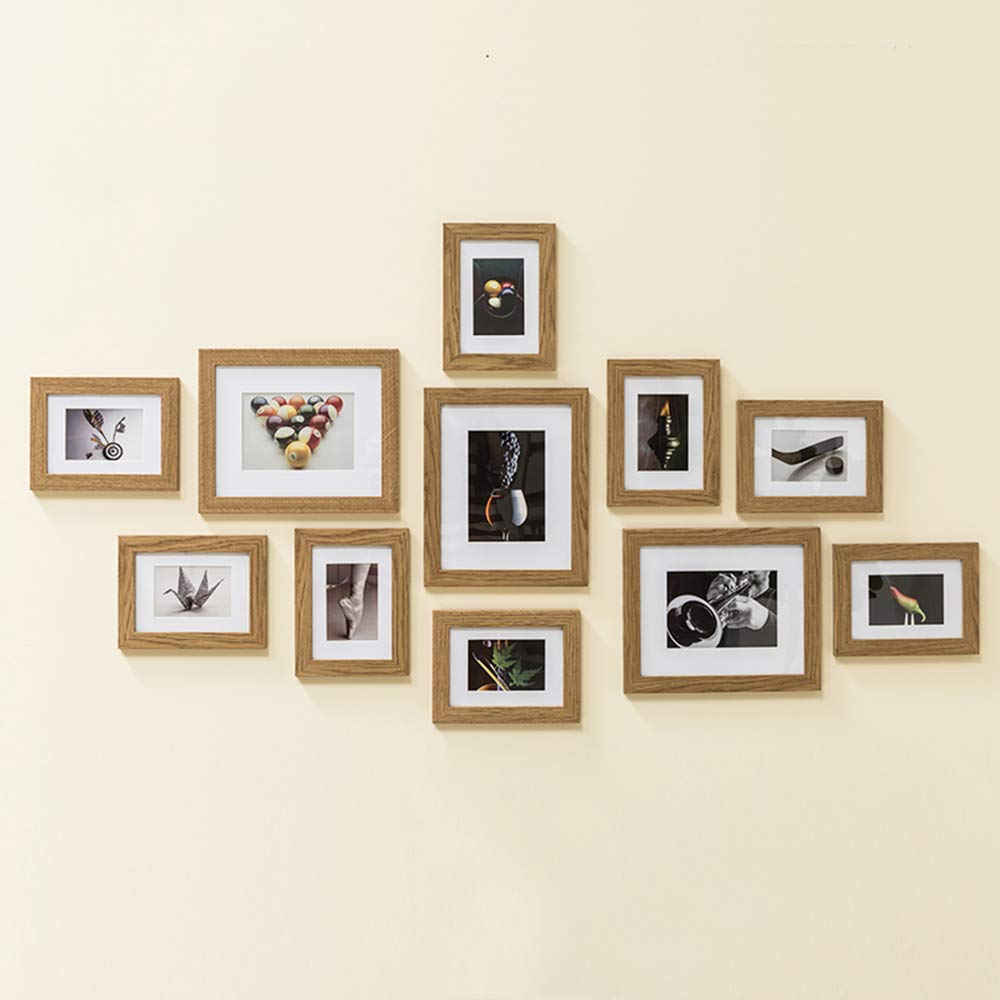 Muzilife 11 pcs Collage Picture Frame-3pcs 8x10+ 8pcs 5x7 Display Photograph and Wall Décor Photo Frames for Dining Room Bedroom and Living Room (Oak) by Muzilife