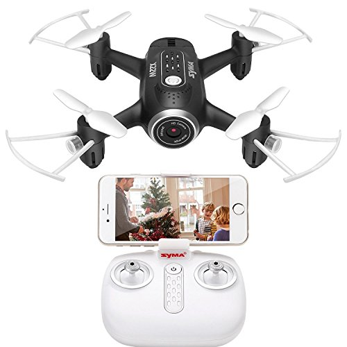 DoDoeleph Syma Mini UFO Quadcopter X22W Wifi FPV Pocket Drone HD Camera Remote Control Nano Quadcopter Drone RTF Mode 2 Black