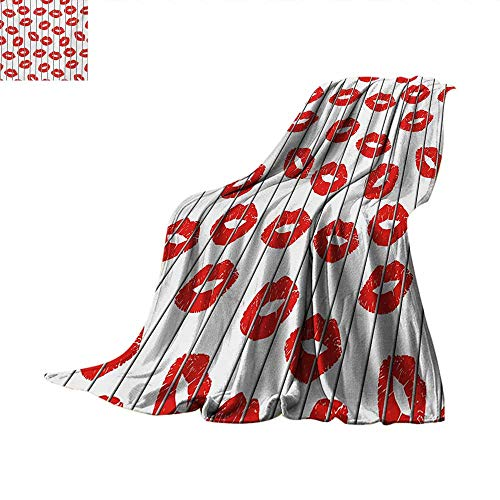 Glamour Weave Pattern Blanket Sexy Woman Lips Behind The Bars Female Love Romance Valentines Day Print Summer Quilt Comforter 60