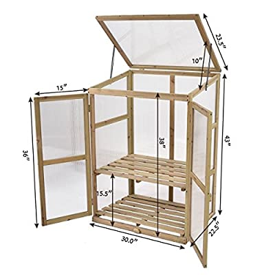 Asher Amada Garden Portable Wooden GreenHouse Cold Frame Raised Plants Shelves Protection from Asher Amada