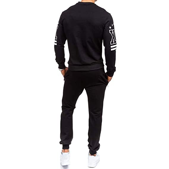 Elogoog New Mens Fashion Crewneck Sweatshirt Shirts Pants Sets Letter Hipster Mens Printed Tracksuit